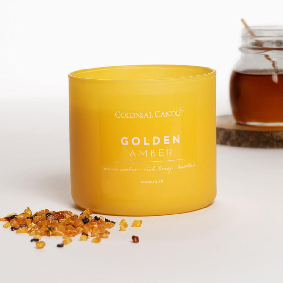 Pop of Color Scented Jar Candle, Golden Amber, 14.5 oz, Wholesale - 4 pk