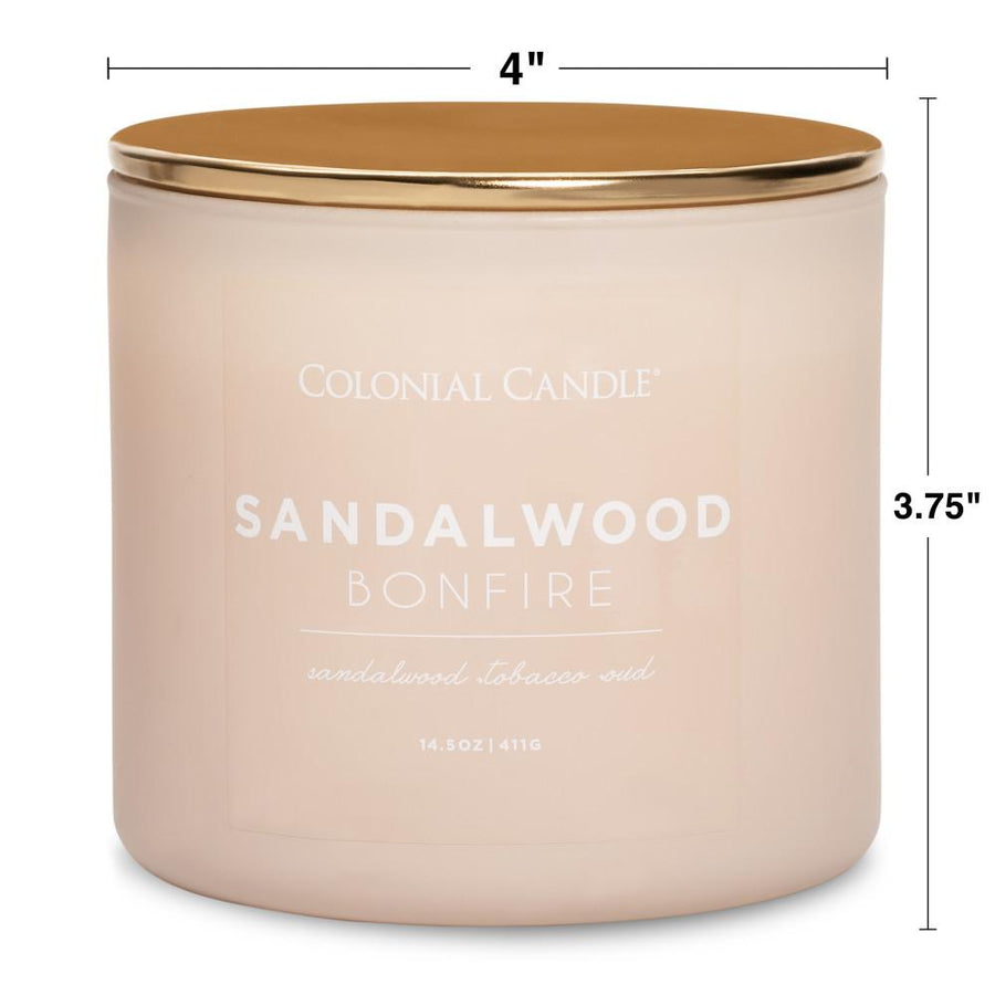 Pop of Color Scented Jar Candle, Sandalwood Bonfire, 14.5 oz, Wholesale - 4 pk
