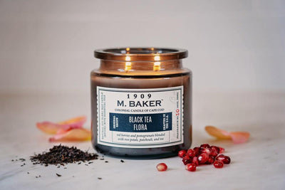 M. Baker Scented Jar Candle, Large, Black Tea Flora, 14 oz, Wholesale - 4 pk