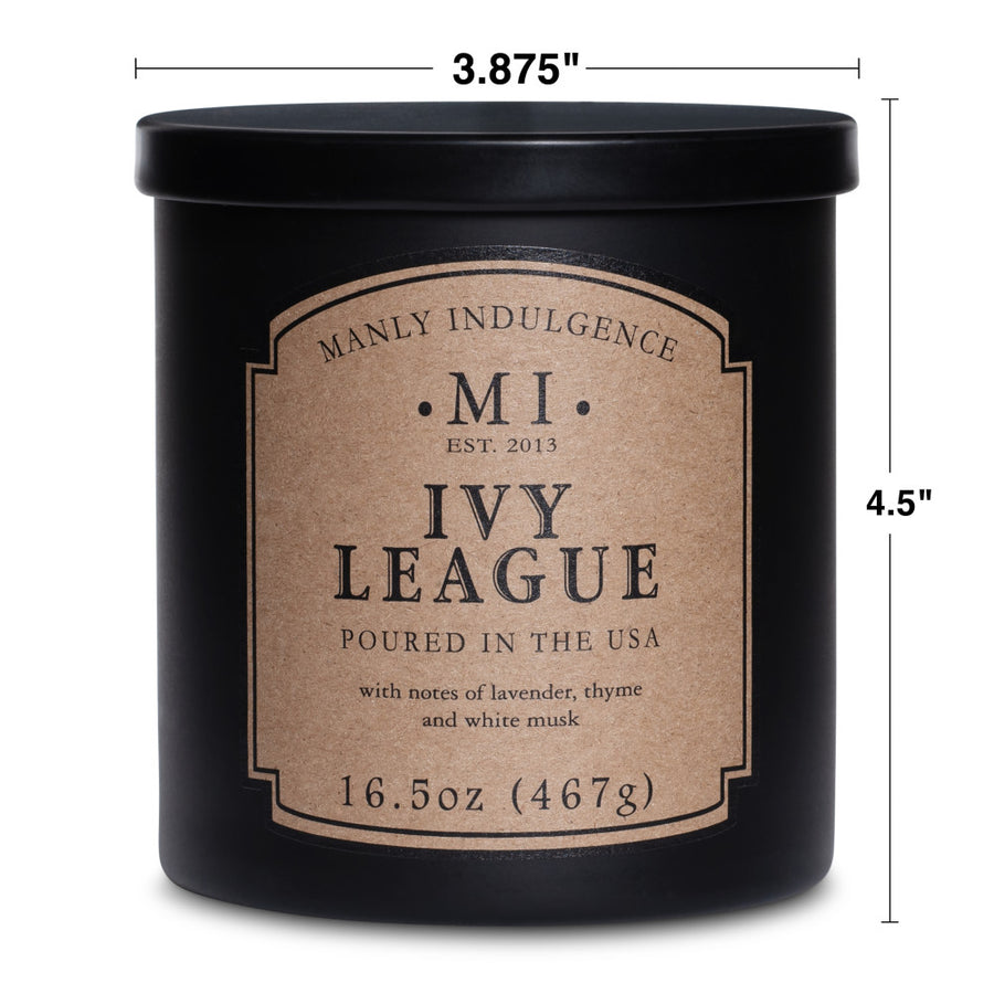 Manly Indulgence Scented Jar Candle, Classic Collection - Ivy League, 16.5 oz - Wholesale - 4 pk