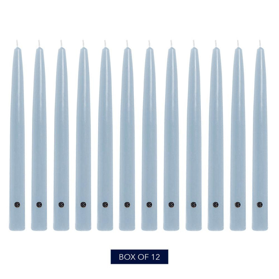 Colonial Candle Handipt Taper Candle, Unscented, 12 in, Coastal Blue, 12 pk (1 inner) - Wholesale