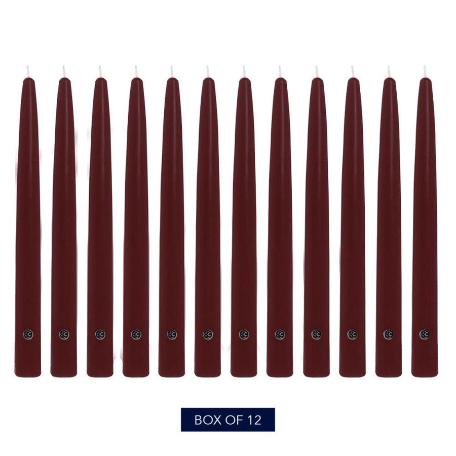 Colonial Candle Handipt Taper Candle, Unscented, 12 in, Mulberry, 12 pk (1 inner) - Wholesale
