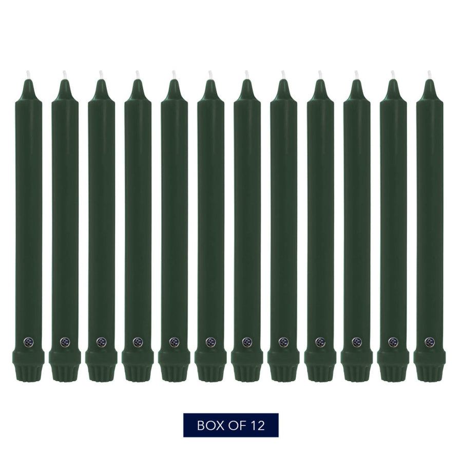 Colonial Candle Classic Taper Candle, Unscented, 10 in, Evergreen, 12 Pack
