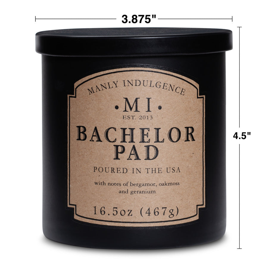 Manly Indulgence Scented Jar Candle, Classic Collection - Bachelor Pad, 16.5 oz - Wholesale - 4 pk