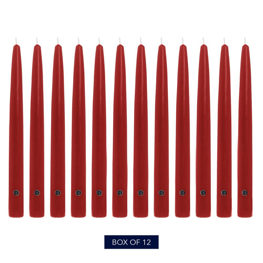 Colonial Candle Handipt Taper Candle, Unscented, 12 in, Red, 12 pk (1 inner) - Wholesale