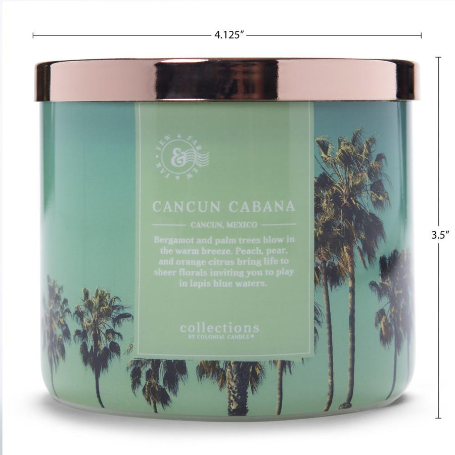 Colonial Candle Scented Jar Candle, Travel Collection, Cancun Cabana, 14.5 oz, Wholesale - 4 pk
