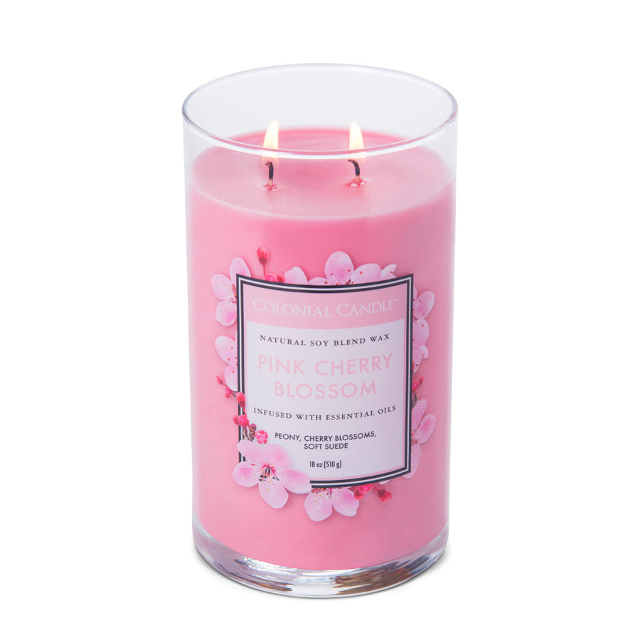 Colonial Candle Classic Cylinder Scented Jar Candle, Cherry Blossom, 18 oz, Wholesale - 4 pk