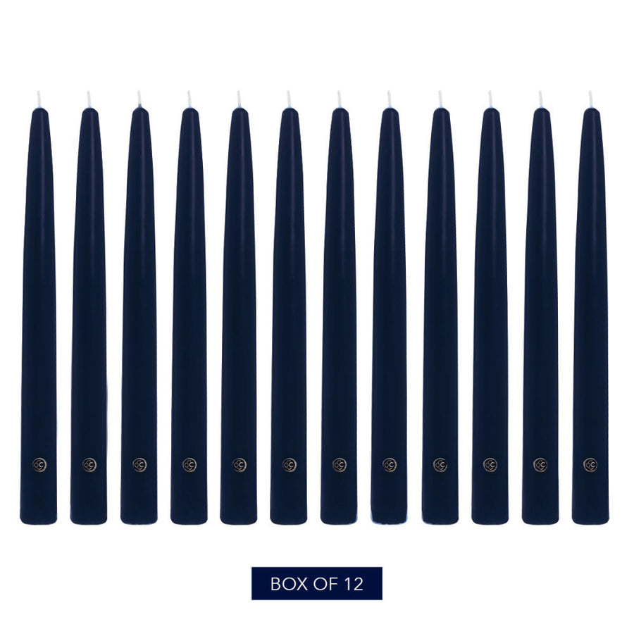 Colonial Candle Handipt Taper Candle, Unscented, 10 in, Indigo, 12 Pack