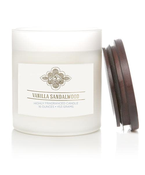 Wellness by Colonial Candle Scented Jar Candle, White Jar, Vanilla Sandalwood, 16 oz, Wholesale - 4 pk