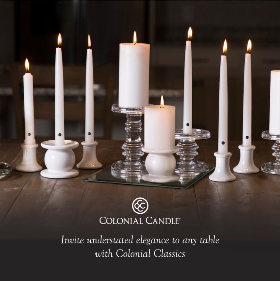 Colonial Candle Classic Taper Candle, Unscented, 10 in, Colonial Classic Green, 12 pk (1 inner) - Wholesale