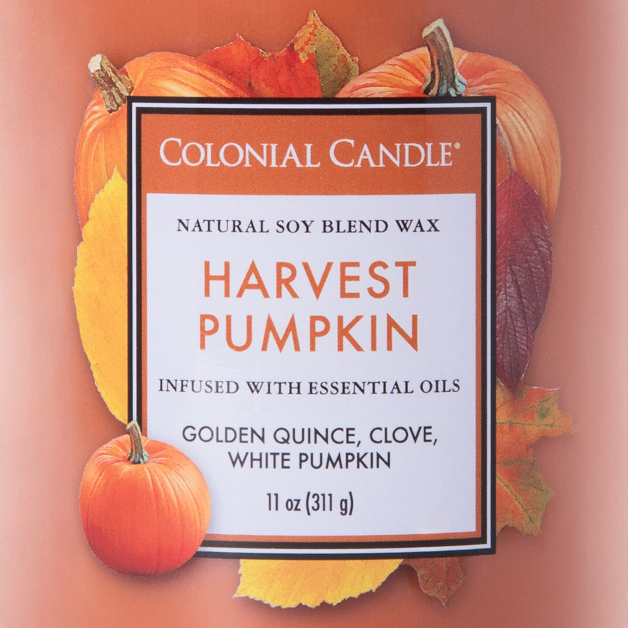 Colonial Candle Classic Cylinder Scented Jar Candle, Harvest Pumpkin, 11 oz, Wholesale - 4 pk