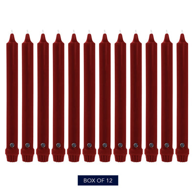 Colonial Candle Classic Taper Candle, Unscented, 10 in, Traditional Cranberry, 12 pk (1 inner) - Wholesale