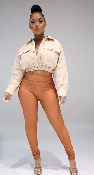 """Coffee"" High Waist Pants"