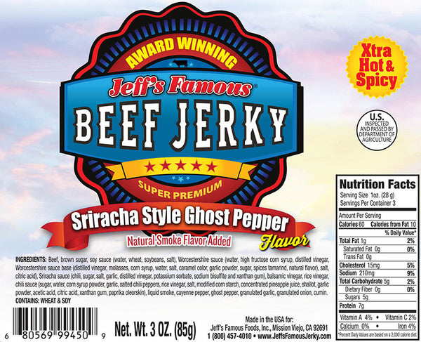 Sriracha Ghost Pepper Beef Jerky by Jeff's Famous Jerky