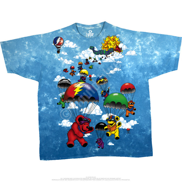 Grateful Dead Sky Diving Bears Tie-Dye T-Shirt is available at Rocker Tee Shirts