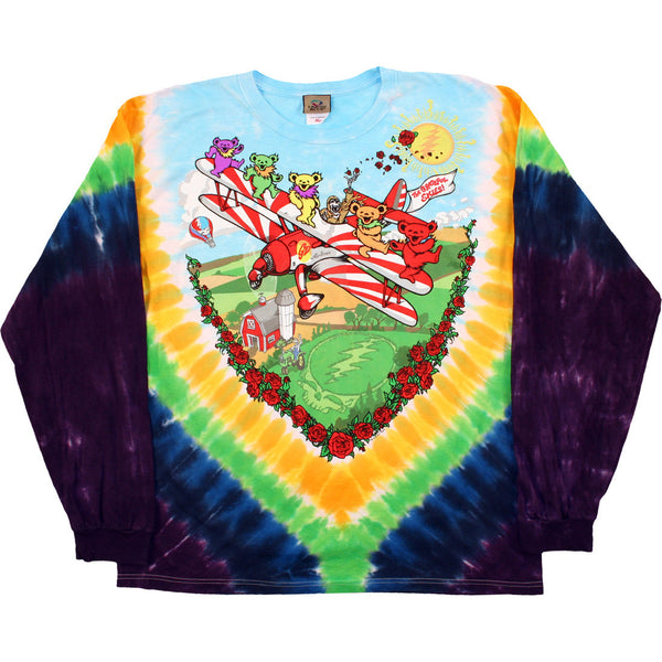 Grateful Dead Flying Bears Long Sleeve Tie-Dye Shirt is available at Rocker Tee Shirts