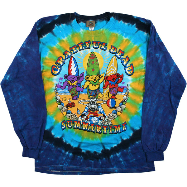 Grateful Dead Surfing Bears Tie-Dye Long Sleeve Shirt is available at Rocker Tee Shirts