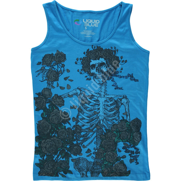Skeleton and Roses Blue Juniors Tank Top T-Shirt is available at Rocker Tee Shirts