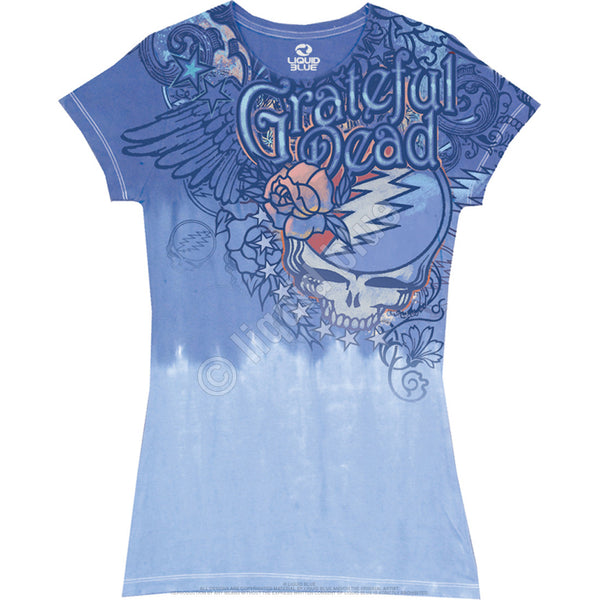 Grateful Dead Flowers Juniors Long Length Tie-Dyed T-Shirt is available at Rocker Tee Shirts
