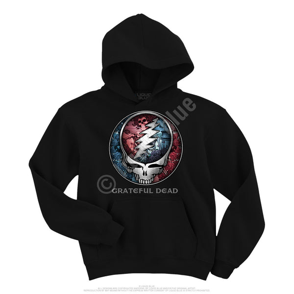 Grateful Dead officially licensed Bertha graphic black hoodie. is available at Rocker Tee Shirts