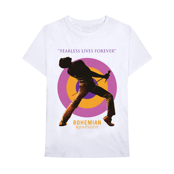 Queen Fearless Lives Forever Bohemian Rhapsody t-shirt is available at Rocker Tee