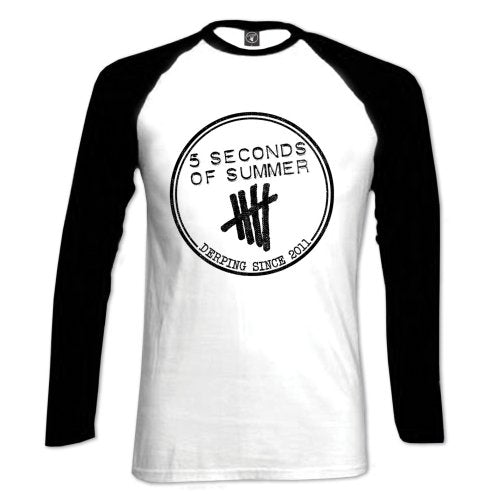 5 Seconds of Summer Ladies Raglan Tee: Derping Stamp (Medium)