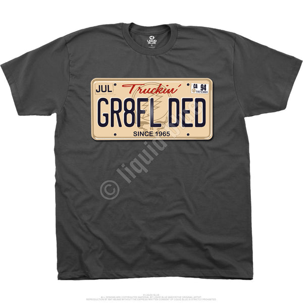 Grateful Dead License Plate t-shirt is available at Rocker Tee Shirts
