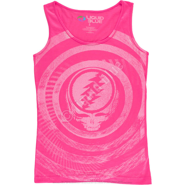 Grateful Dead Pink Ripple Juniors Tank Top for girls is available at Rocker Tee Shirts