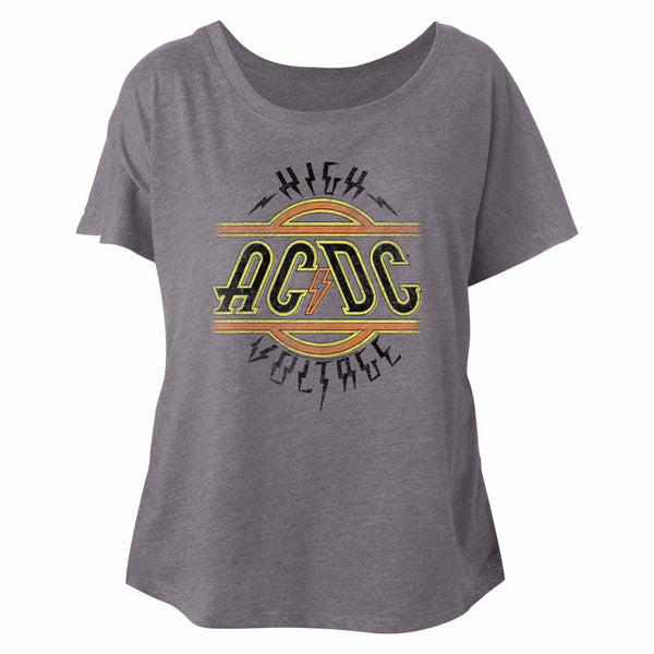 ACDC High Voltage Premium Heather Ladies Tee