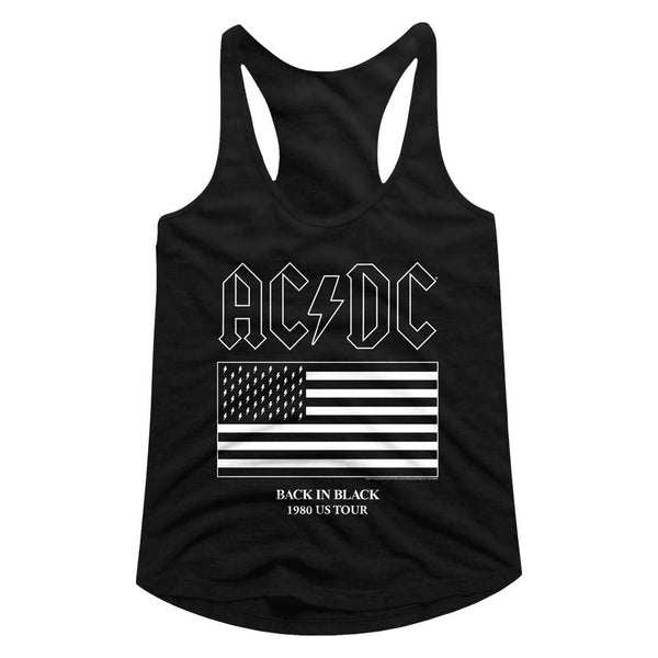 ACDC Back In Black 1980 US Tour ladies racerback tank top.