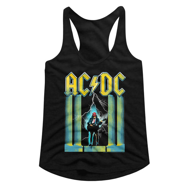 ACDC Angus with guitar ladies racerback tank top.