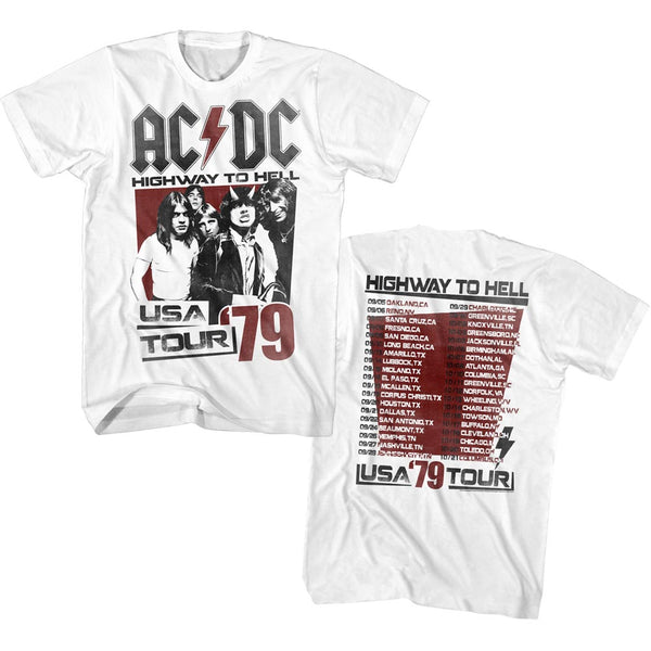 ACDC Highway To Hell USA 79 Tour adult short sleeve t-shirt.