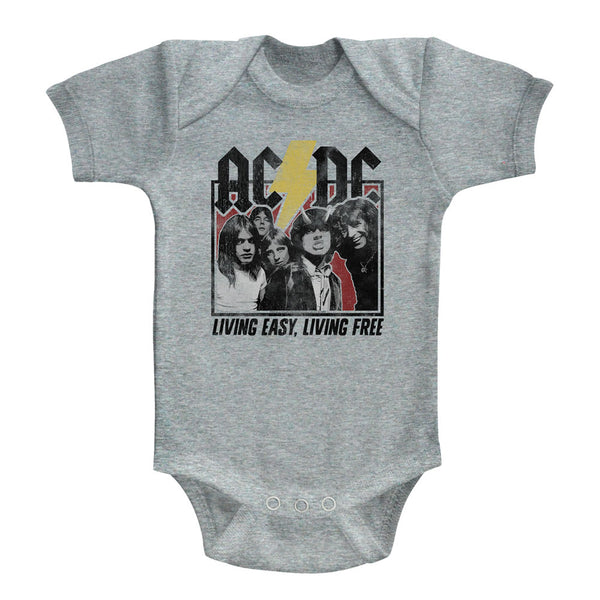 ACDC Living Easy, Living Free infant short sleeve bodysuit.