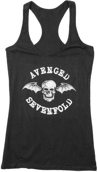 Avenged Sevenfold juniors racerback tank top featuring the Deathbat logo is available at Rocker Tee
