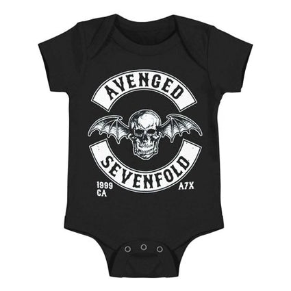 Avenged Sevenfold Deathbat onesie for babies is available at Rocker Tee