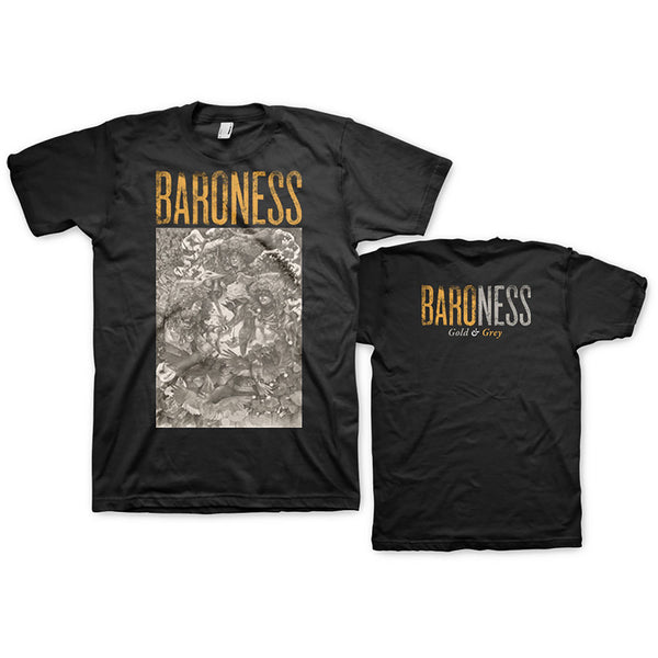 Baroness Unisex Tee: Gold & Grey (Back Print) (XX-Large)