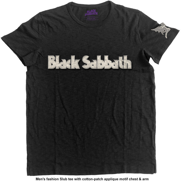 Black Sabbath Unisex Fashion Tee: Logo & Daemon (Applique Motifs)