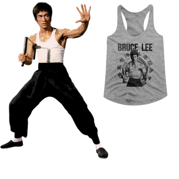 Bruce Lee tank top featuring an image of Bruce Lee with dual nunchucks is available at Rocker Tee.