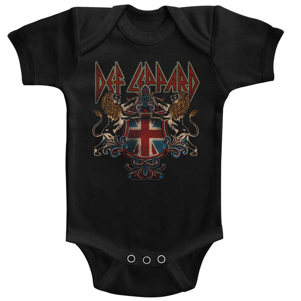 Def Leppard Def Crest infant short sleeve bodysuit.