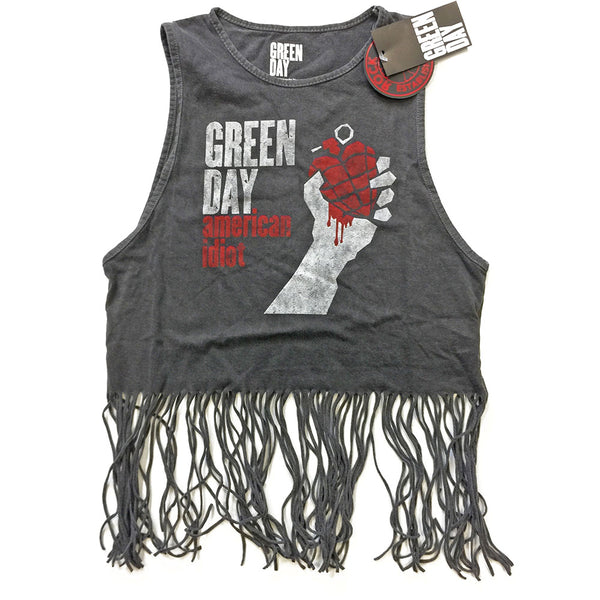 Green Day Ladies Tee Vest: American Idiot Vintage (Tassels)