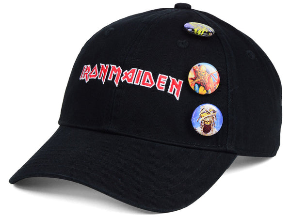 Iron Maiden Hat With Collectible Buttons is available at Rocker Tee