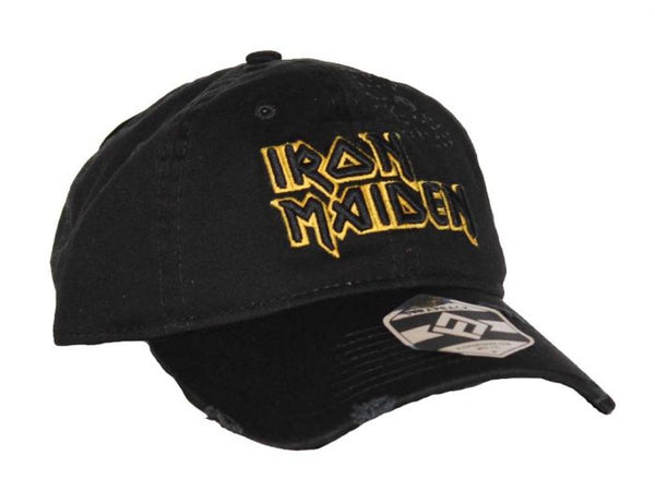 Iron Maiden Distressed Hat with yellow band logo is available at Rocker Tee