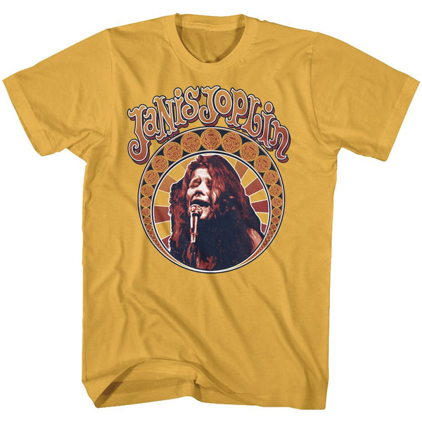 Janis Joplin Nouveau Circle adult short sleeve t-shirt.