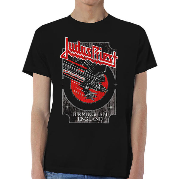 Judas Priest Unisex Tee: Silver and Red Vengeance