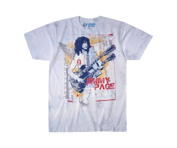 Jimmy Page custom dyed t-shirt featuring Jimmy Page playing his classic double neck guitar is available at Rocker Tee.