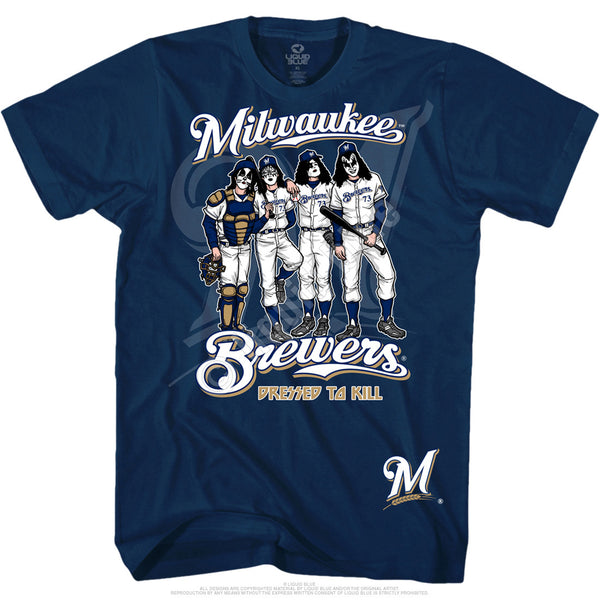 Milwaukee Brewers Dressed to Kill Navy T-Shirt is available at Rocker Tee