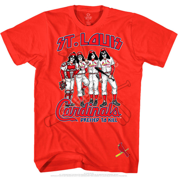 St. Louis Cardinals Dressed to Kill Red T-Shirt is available at Rocker Tee