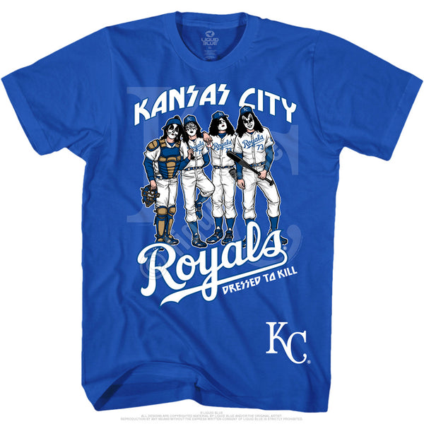Kansas City Royals Dressed to Kill Blue T-Shirt is available at Rocker Tee
