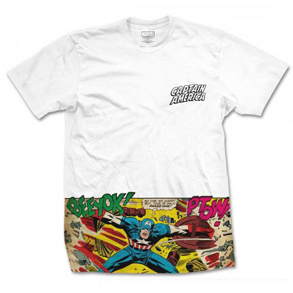 Marvel Comics Unisex Tee: Captain America Comic Strip Pocket (Sublimation Print)