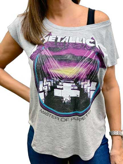 Metallica MOP Juniors Curved Hem T-Shirt is available at Rocker Tee